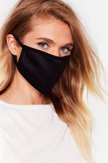 Black Plain binded face mask covering 2 pack