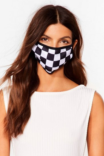 Check Mate Checkerboard Fashion Face Mask, Black