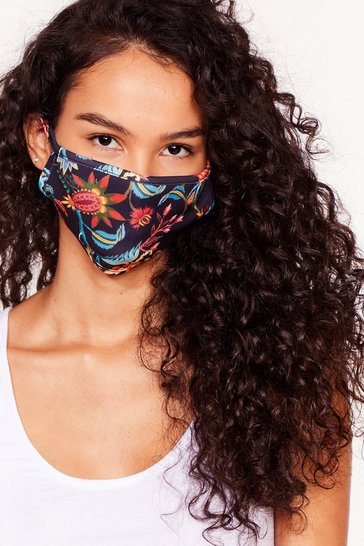 Black Poker Face Floral Fashion Face Mask