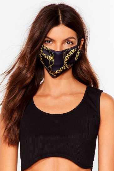 Black Say It to My Face Chain Fashion Face Mask