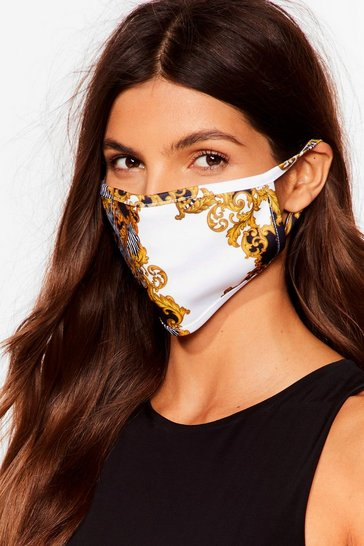 Black Get Outta My Face Brocade Fashion Face Mask