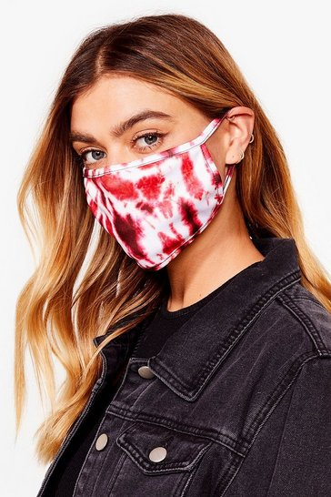 Talk to Me Tie Dye Fashion Face Mask, Red