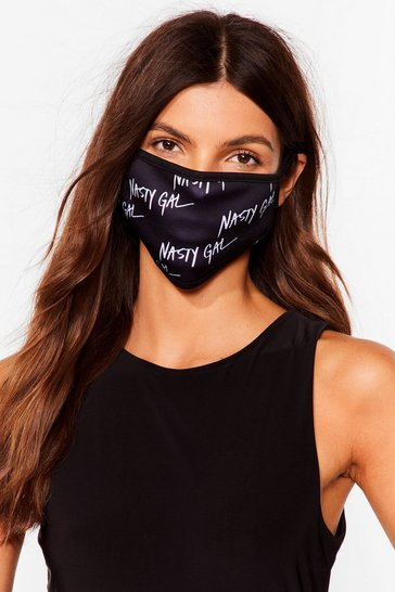 Masque facial fashion à logos Nasty Gal, Black