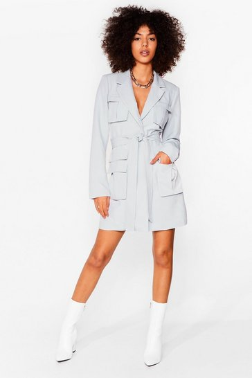 Powder blue Utility Deserve It Belted Mini Dress