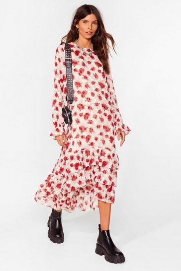 Cream Rose and Shine Floral Maxi Dress