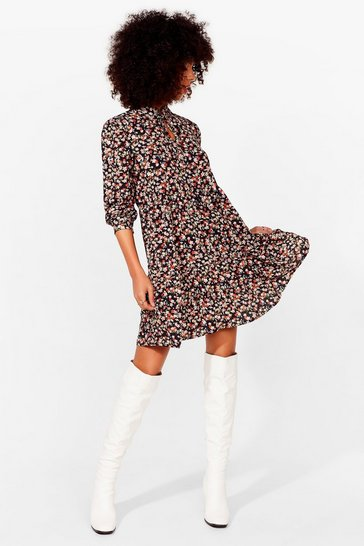 Black Never Had It Grow Good Floral Mini Dress