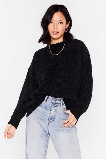 Black Big Softie Relaxed Knitted Sweater