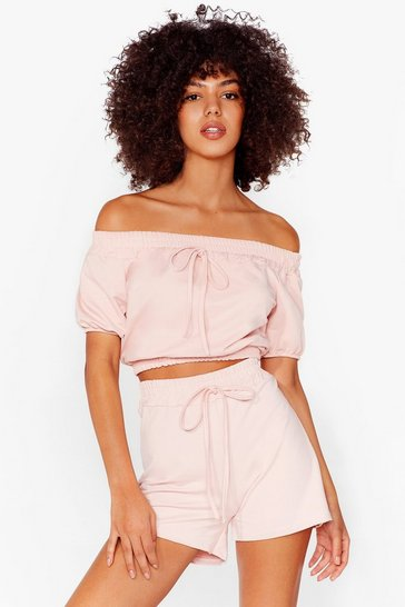 Pink Off The Shoulder Crop Top And Shorts Set