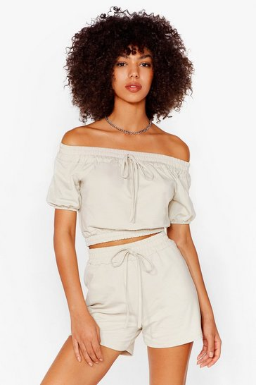 Stone Day Off-the-Shoulder Crop Top and Shorts Set