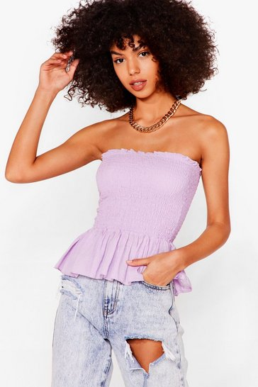 Lilac We Frill Wait for You Shirred Ruffle Top