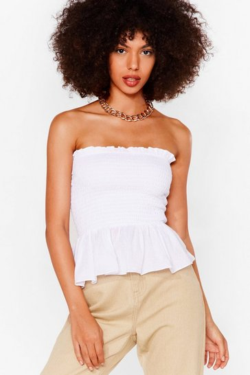 White We Frill Wait for You Shirred Ruffle Top
