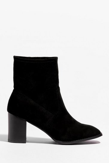 Black You Sock My World Faux Suede Heeled Boots