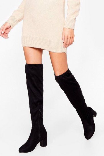 Black We Heel Ya Faux Suede Over-the-Knee Boots