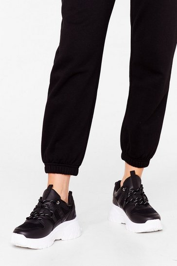 Black Don't Croc the Party Faux Leather Chunky Sneakers