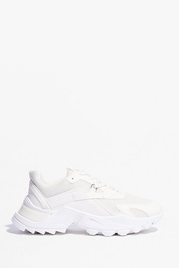 White PU mixed fabric D ring lace up Sneakers