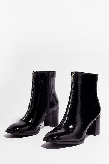 Black Zip the Details Patent Heeled Boots
