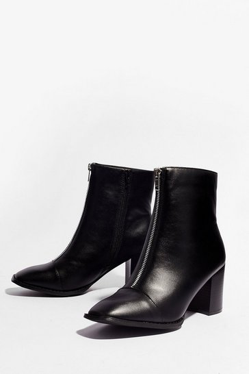 Black Zip Up Faux Leather Ankle Boots