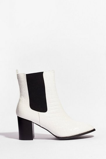 White Just Try and Croc Us Heeled Ankle Boots