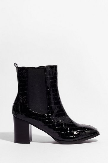 Black Just Try and Croc Us Heeled Ankle Boots