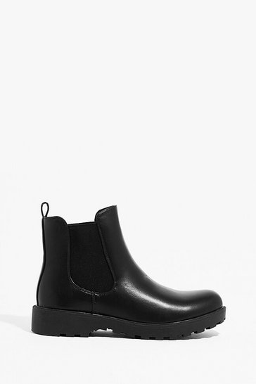 Black PU flat cleated Chelsea Boots