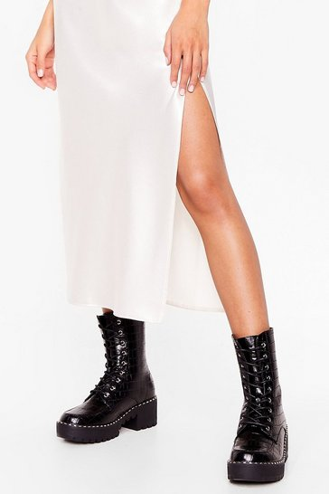 Black Croc and Stare Faux Leather Cleated Boots