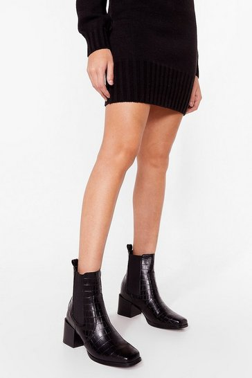 Black Croc-star Treatment Heeled Ankle Boots
