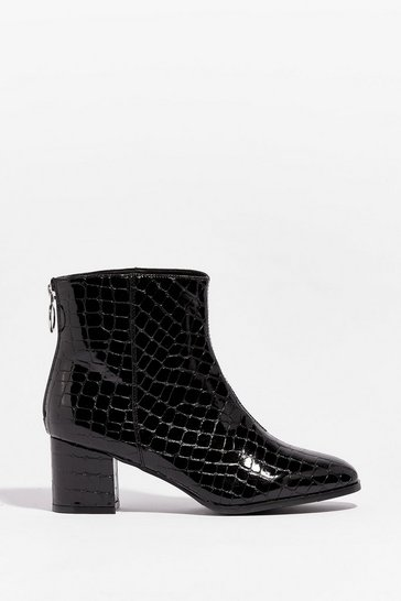 Black Patent Faux Leather Croc Ankle Boots