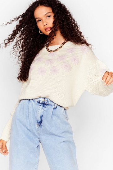 Cream Knit's Not Me Embroidered Floral Sweater