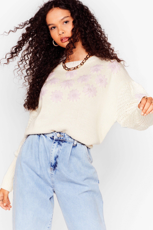 Embroidered floral jumper