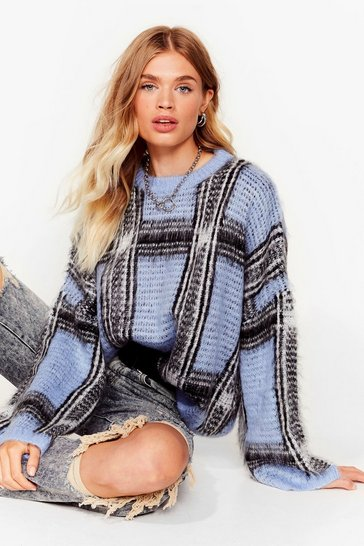 Blue Brushed check wide sleeve jumper