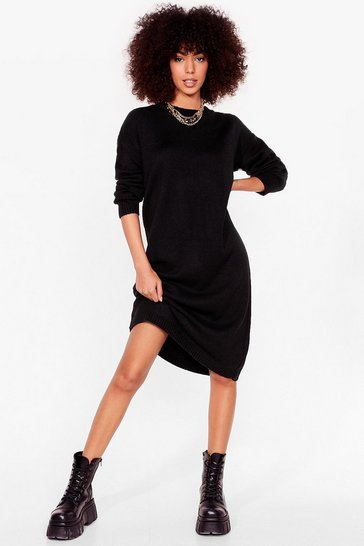 Black Warm Up to Us Knitted Midi Dress