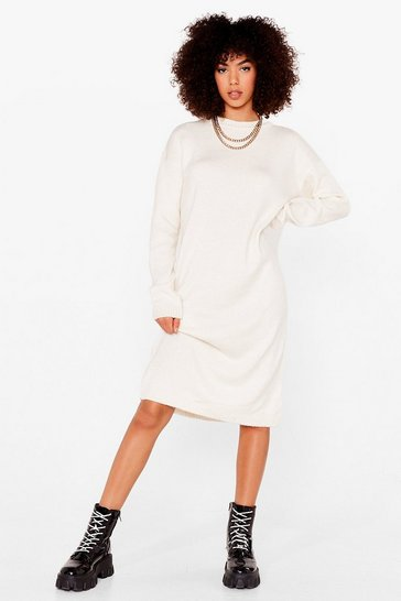 Cream Warm Up to Us Knitted Midi Dress