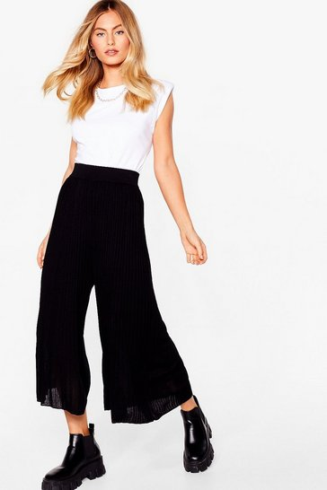 Black Knitted ribbed wide culottes