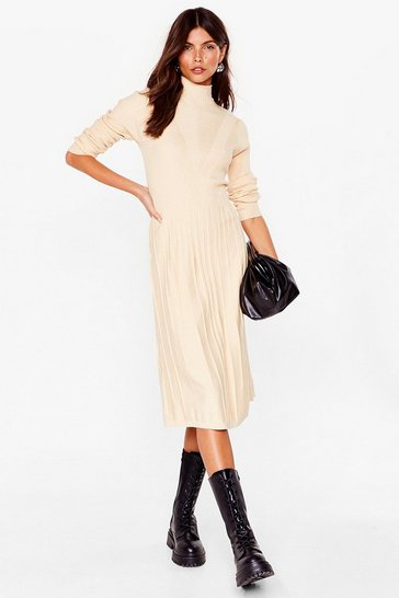 Oatmeal Knitted ribbed bias cut high neck midi dress