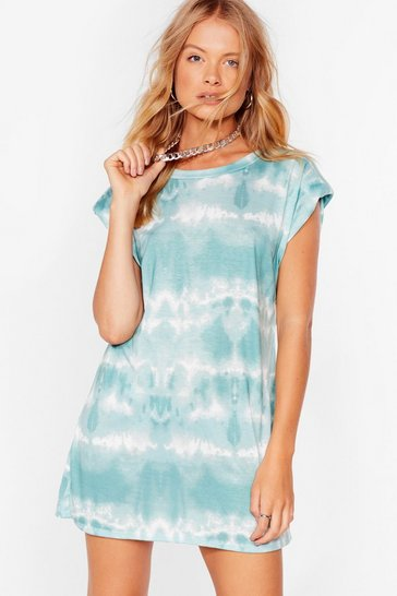 Sage Flying Colors Shoulder Pad Tie Dye Dress