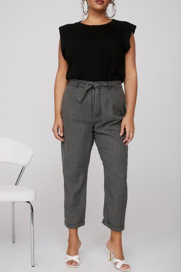 Grey Plus Size Belted Pinstripe Pants
