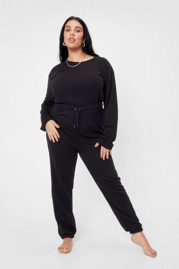 Black Plus Size Keyhole Back Lounge Jumpsuit