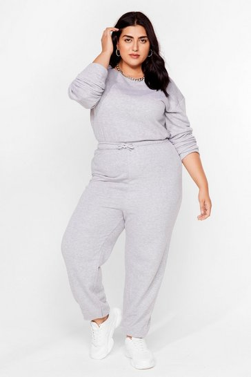 Grey Plus Size Keyhole Back Lounge Jumpsuit