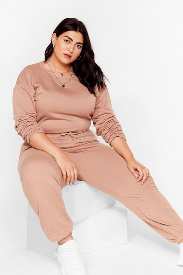 Sand Keep It Casual Plus Lounge Jumpsuit