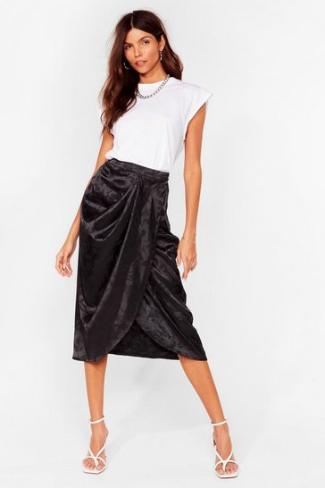 Black Do the Twist Satin Midi Skirt