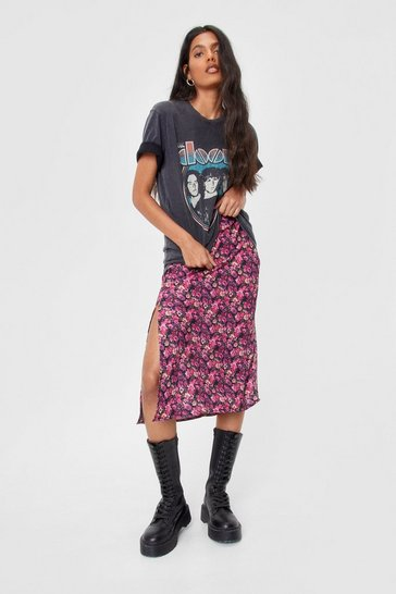 Black Midi Skirt in dark based floral