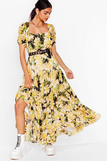 Black Get Some Sunflower Floral Maxi Dress
