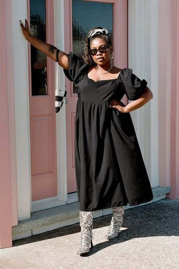 Black Plus Size Puff Sleeve Smock Midi Dress