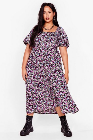 Purple Plus Size Floral Print Midi Smock Dress