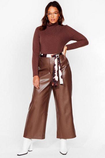 Chocolate The Hustle Plus Faux Leather Cropped Pants