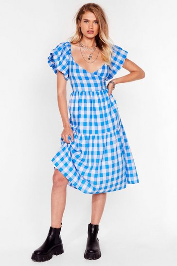 Blue It's a Picnic Gingham Midi Dress