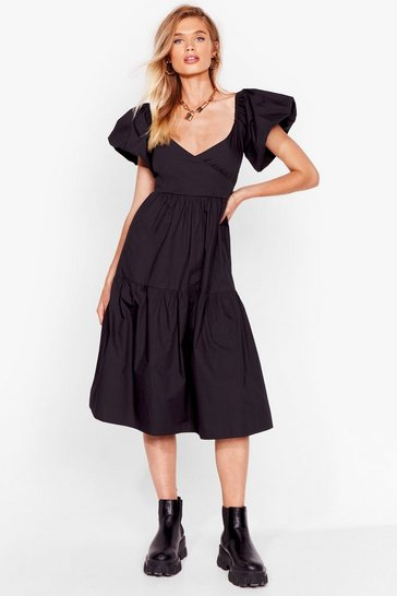 Black Puff Act to Follow Relaxed Midi Dress