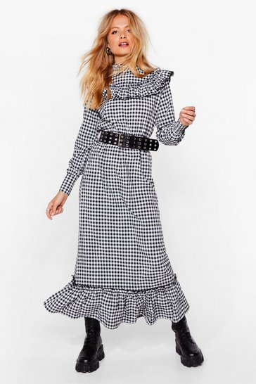 Black puff sleeve maxi smock dress in gingham check