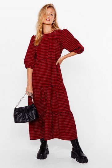 Red Gingham a Chance Puff Sleeve Midi Dress