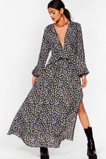 Black Takin' You Down Plunging Maxi Dress